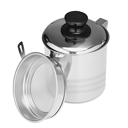 Uarter Superior Oil Strainer Pot, Food-grade Grease Container Stainless Steel Oil Can with Lid and Fine Mesh Strainer, Suitable for Storing Frying Oil and Cooking Grease, (Kitchen Grease)