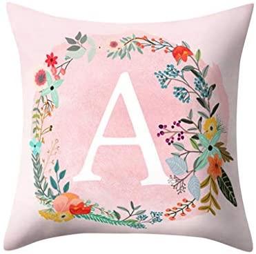 Wenini English Alphabet Pillowcase AZ Letter Print Flower Throw Pillow Case Cushion Cover for Sofa Home Room Decoration 18 X 18 Inch 45cm x 45cm