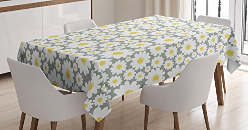 Ambesonne Floral Tablecloth by, Cartoon like Flowers Daisies Spring Time Season Pollens Artwork Print, Dining Room Kitchen Rectangular Table Cover, 60W X 84L Inches, Light Grey Yellow White
