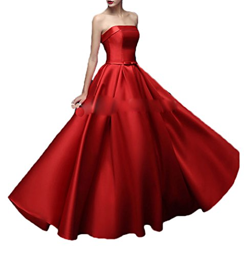 Strapless s DKBridal Red Dow Prom Formal Party Dresses Evening Women Gown Long Satin Eq1a1O6f