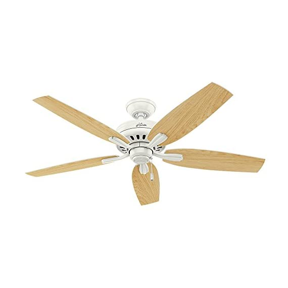"""Hunter fan company hunter 53319, 52"""" ceiling fan, fresh white finish 3 classic ceiling fan: the traditional newsome fan comes with light oak reversible blades that will keep home interior inspired; measures 52 x 52 x 12. 02 inch multi-speed reversible fan motor: whisper wind motor delivers ultra-powerful airflow with quiet performance; change the direction from downdraft mode during the summer to updraft mode during the winter pull chain control: turn the white ceiling fan on/off and adjust the speed quickly and easily with the pull chain"""