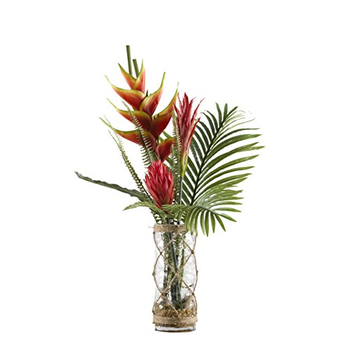 (D & W Silks 174028 Heliconia, Ginger, Protea, and Palm Fronds in Vase Red/Yellow/Green/Clear/Brown)