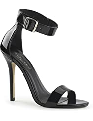 Summitfashions Womens Stylish Glossy Black Dress Shoes with Ankle Strap and 5 Slim Heels
