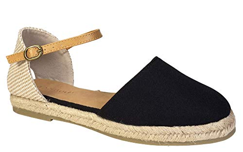 BAMBOO Women's Open Shank Round Toe Espadrilles Flat with Ankle Strap, Black Canvas, 7.5 B (M) US