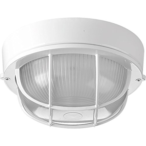 (Progress Lighting P3709-30 Bulkheads One-Light Flush Mount, White)