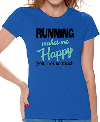 Price comparison product image Awkward Styles Women's Running Makes Me Happy You Not So Much Graphic T Shirt Tops Cardio Blue S