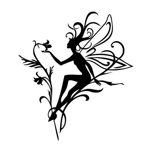 Leon Online Box Fairy Magic Flower Power - Tribal Decal [12cm Black] Vinyl Sticker for Car, Bike, iPad, Laptop, MacBook, Helmet ()
