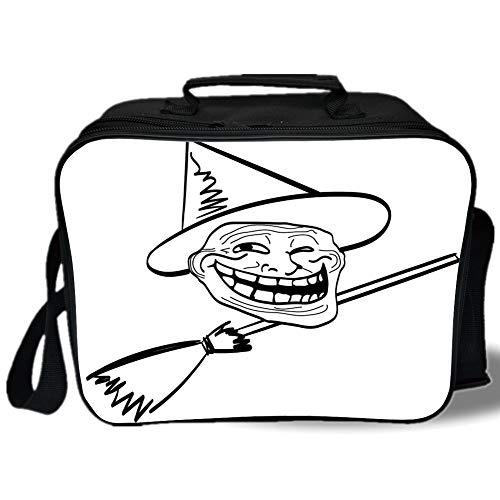 Humor Decor 3D Print Insulated Lunch Bag,Halloween Spirit Themed Witch Guy Meme Lol Joy Spooky Avatar Artful Image,for Work/School/Picnic,Black White ()