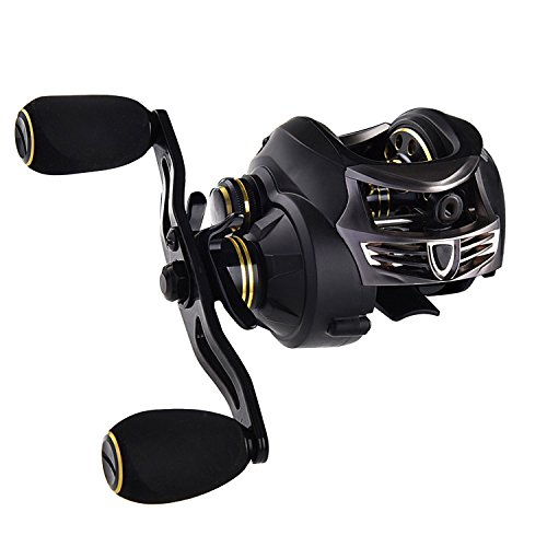 KastKing Stealth Baitcasting Reel - All Carbon Baitcaster Fishing Reel - 6oz Super Light Weight - 16.5 Lb Carbon Fiber Drag, 11 + 1 BB, Dual Brakes(Right Handed Reel)