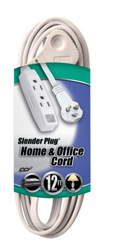 Coleman Cable 03518 Flat Plug Extension Cord, 16/3 Grounded with 3-Outlet Trinector Tap, 12-Foot (White Extension Cord 12 Feet compare prices)