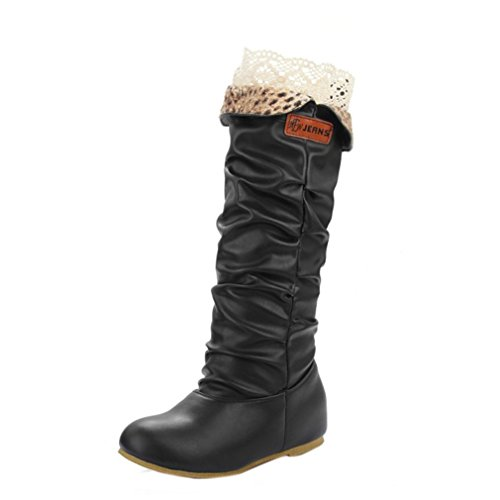 Women Winter Black for Knee Boots Material Wedges High High Boots Womens Shoes PU Warm ENMAYER Heel 7qxOPwZpw