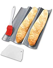 """Kokipro French Bread Baguette Pan 15"""" x 13"""" Nonstick Perforated Baguette Pans For Baking 3in1 Couche For Bread Dough + Dough Scraper + 4 Wave Silver Steel Loaves Loaf Bake Mold…"""