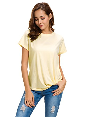 MSHING Women's Casual Round Neck Short Sleeve Tie Up T-Shirt Blouse Comfortable Cotton Basic Tops Yellow