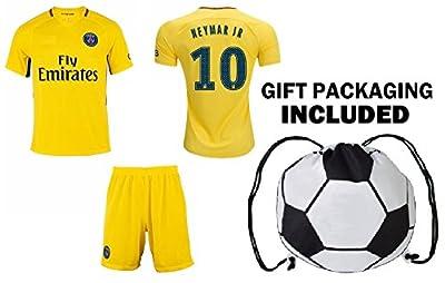 Fan Kitbag Neymar Jr #10 PSG Soccer Jersey & Shorts Paris Saint Germain Youth Kids Home / Away ? Premium Gift Set ? INCLUDED Soccer Ball Backpack