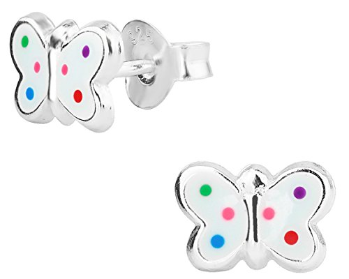 Hypoallergenic Sterling Silver Rainbow Polka Dot Butterfly Stud Earrings for Kids (Nickel Free)
