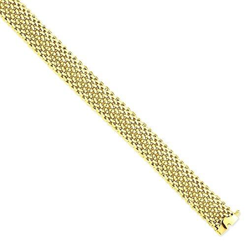 Icecarats Créatrice De Bijoux 14K 7.25In 12.5Mm Poli Bracelet En Maille 7,25 Pouces