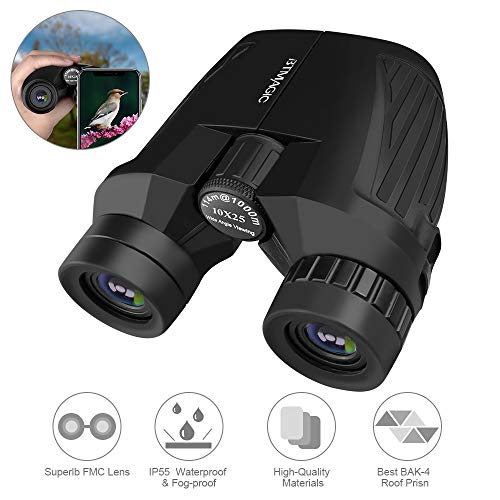 Binoculars for Adults Kids,10x25 Professional HD Waterproof Compact Binoculars for Birds Watching Hunting Concerts with Clear Weak Light Vision,BAK4 Prism FMC Lens Black (Smart Phone Adaptor for Photo