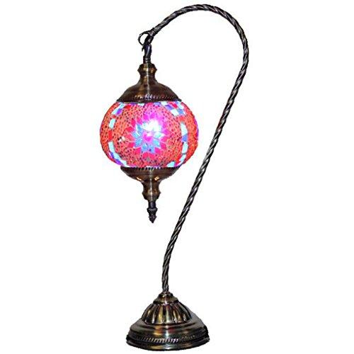 (Silver Fever Handcrafted Mosaic Turkish Lamp -Moroccan Glass - Table Desk Bedside Light- Bronze Base (Pink Starburst)