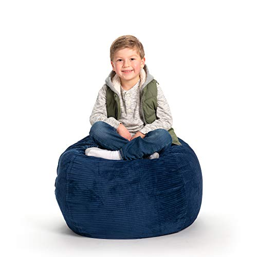 Creative QT Stuffed Animal Storage Bean Bag Chair - Large Stuff n Sit Organization for Kids Toy Storage - Available in a Variety of Sizes and Colors (33, Royal Blue Corduroy)