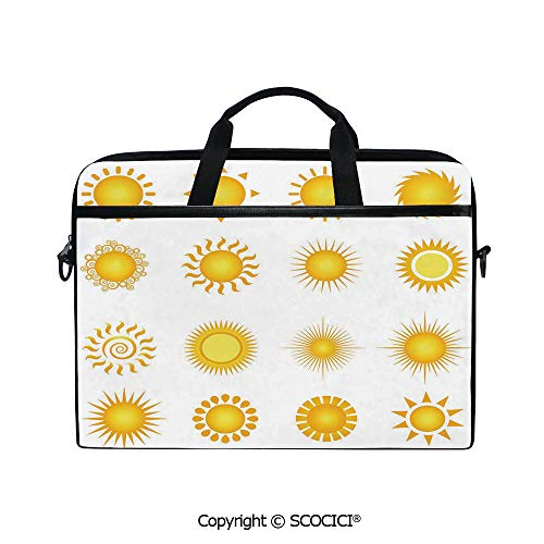 Laptop Sleeve Notebook Bag Case Messenger Shoulder Laptop Bag Various Different Sun Icons Summer Hot Warm Weather Morning Daytime Decorative with Handle and Extra Side Pockets