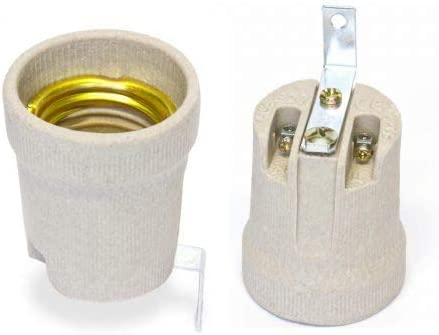 Fassung Porzellan E27 Keramik Lampenfassung Bügel Winkel Innengewinde LED
