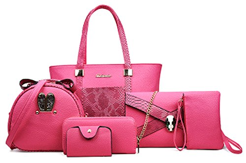 Snake Pink Handbag - Zzfab 6 pcs Snake Skin Leather Bag Set Pink