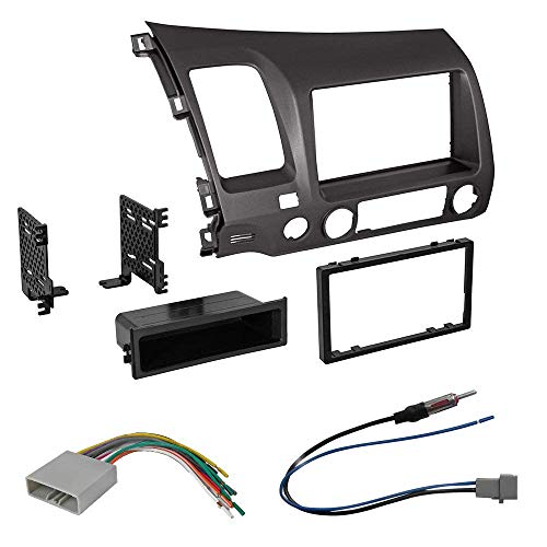 Car Radio Stereo Single 2 Din Taupe Dash Kit Harness for 2006-2011 Honda Civic (Accessories Aftermarket Honda)