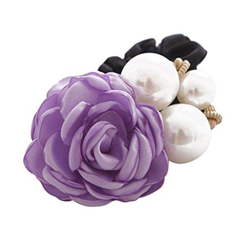 (Women Satin Ribbon Rose Flower Pearls Hairband Ponytail Holder Hair Band (Purple))