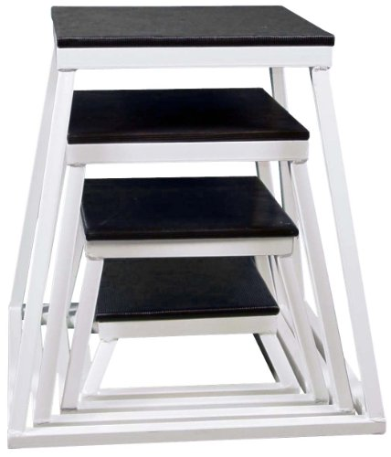 Plyometric Platform Box Set- 6'', 12'', 18'', 24'' White by Ader Sporting Goods