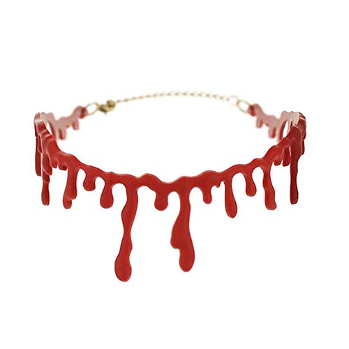 Ruimin 1PC Scary Blood Choker Blood Drops Necklace Halloween Party Dress Vampire Costume Accessory -