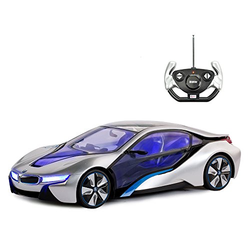 BMW Toy Car, Rastar 1:14 BMW i8 Remote Control Car | BMW RC Car, Fully Transparent/Interior Light - Silver, 27MHz / 40MHz
