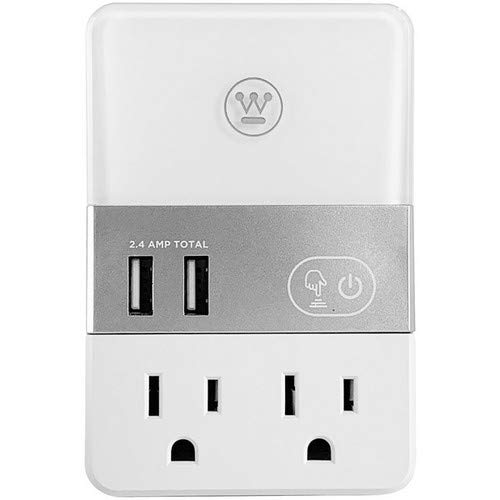 (Westinghouse 2-Outlet USB Wall Adapter with Built in LED Night Light, 3 Preset Light Levels)