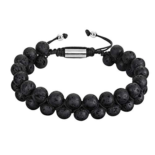 RIVERTREE Black Natural Lava Stone Diffuser Bracelet Beads Handmade 2 Layer Braided Essential Oil Perfume Adjustable 6.5