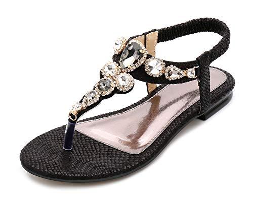 Chaussures Dessin Strass Mode D'été Plates Jds® Dame Sandales Bohême Fortuning's De Classique Noir Des 5wxRAXqW8