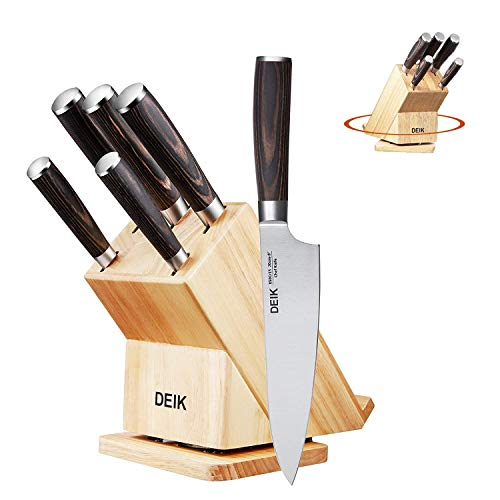 (Deik Knife Set 6-Piece High Carbon Stainless Steel with Pakka Wood Handle, Rotatable Block Set for Recipe and Laptop)