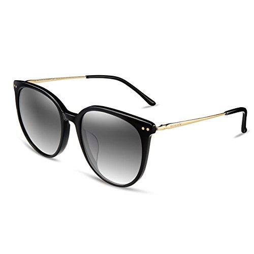 BOLON Womens Nylon Polarized Grey Gradient Lens Cat Eye Acetate Black - Bolon Sunglasses