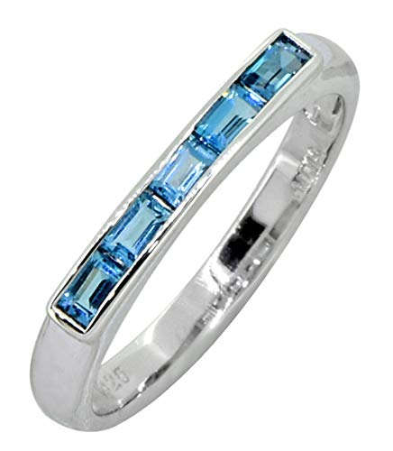 (YoTreasure 0.65 Ct London Blue Topaz Solid 925 Sterling Silver Eternity Band Ring (7))