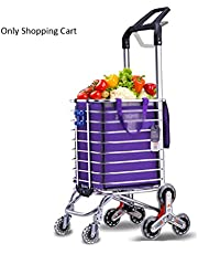 Household Trailer, 35L Portable Shopping Cart with 8 Wheels, Foldable Shopping Trolleys with Aluminum Alloy Frame, 3 in 1 Luggage Frame (Color : Purple)