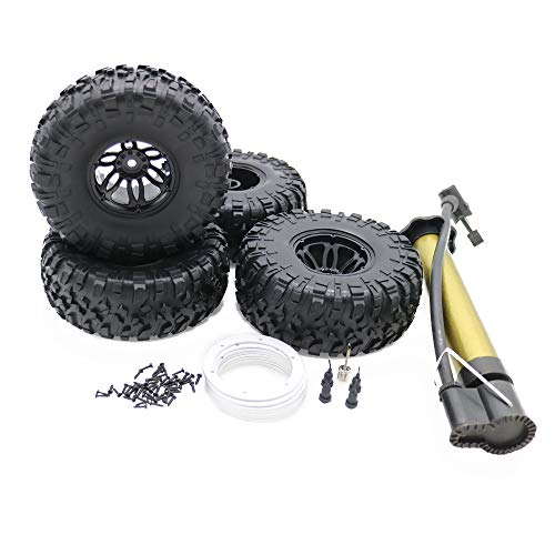 (RCAWD Air-Filled Inflated 2.2 Bead Lock Wheel Tire S Tread for Rc 1:10 Rock Crawler Monster Truck 4Pcs(Silver))