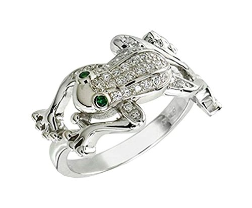 Frog ring designer 12mm Wide Brilliant cut 925 Silver