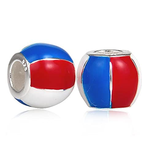 Amazon Com Hoobeads Beach Ball With Red White And Blue Enamel Beads