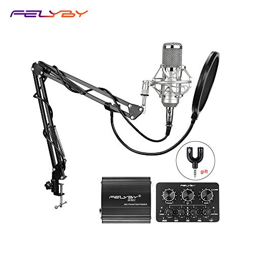 - BM-800 Professional Condenser Microphone & Suspension Boom Scissor Arm Stand with XLR Cable and Mounting Clamp & Pop Filter & 48V Phantom Power Supply & Sound Card with Adapter Kit (Silver)