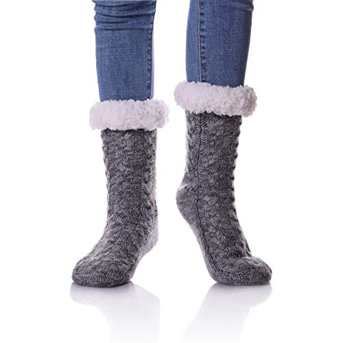 LINEMIN Womens Plus Size Super Soft Warm Cozy Fuzzy With Grips Fleece-lined Winter Christmas gift Slipper socks/Shoe Size: 7-12 (Gray) from LINEMIN