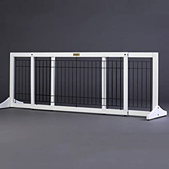 Amazon Com White Wooden Pet Gate Freestanding Extra Wide Dog Cat