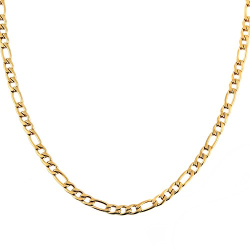 HZMAN Men Women 24k Real Gold Plated Figaro Chain Stainless Steel Necklace, Wide 5mm 7mm 9mm 13mm ()
