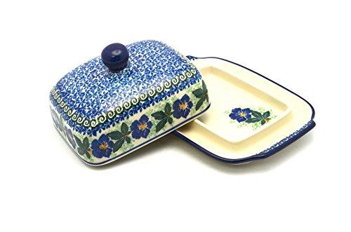Polish Pottery Butter Dish - Blue Pansy