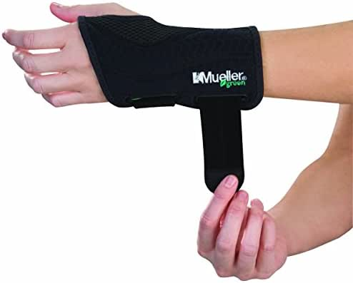 Mueller Green Fitted Wrist Brace, Black, Left Hand, Large/Extra Large