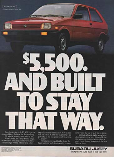 (Magazine Print Ad: Red 1987 Subaru Justy Hatchback,