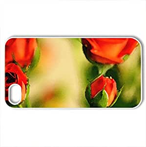 awesome - Case Cover for iPhone 4 and 4s (Flowers Series, Watercolor style, White)