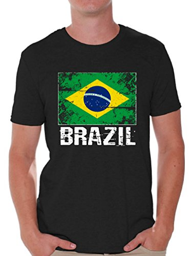 Awkward Styles Brazil Shirts for Men Brazil Flag T-Shirts Brazil Gifts for Him Black L